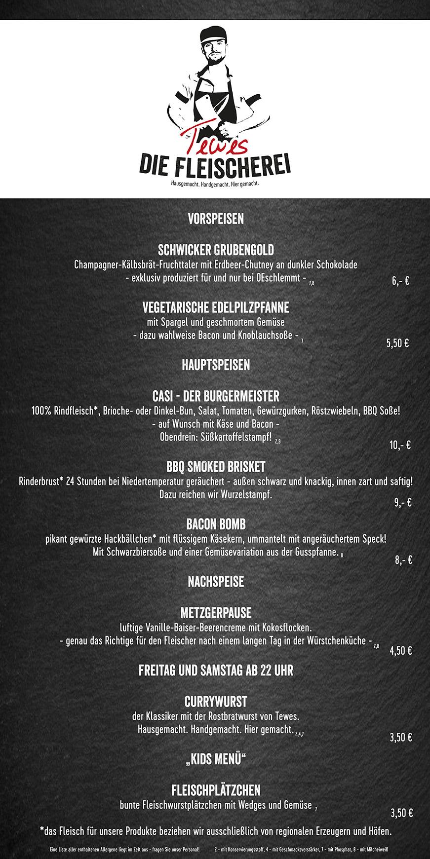 Tewes - Die Fleischerei: Speisekarte OE schlemmt